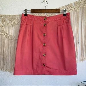 BDG Brick Red Button Mini Skirt Size 8